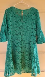 Julian Taylor Dresses - Turquoise Lace Dress with Bell Sleeves